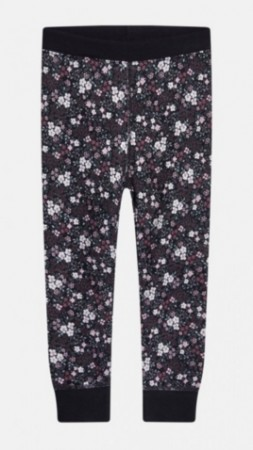Ull/bambusleggings Blomster Sort